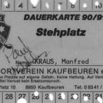 Meine Dauerkarte 1990/91 mit der Unterschrift von Paul Geddes