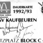 Meine Dauerkarte 1992/93 mit den Unterschriften von Ladislav Lubina und Cestmir Fous