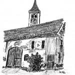 Altes Gehöft und Turm der Pfarrkirche Sankt Andreas in Westernach