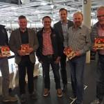 Manfred Kraus mit den vier ESVK-Gesellschaftern Thomas Petrich, Werner Höbel, Thomas Hübner und Karl-Heinz Kielhorn sowie Geschäftsführer Michael Kreitl (Oktober 2017, Aufnahme von Manuel Weis)